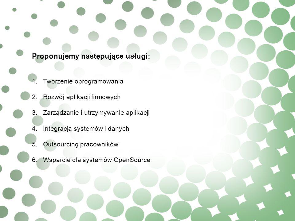 Proponujemy następujące usługi: 1.Tworzenie oprogramowania 2.Rozwój aplikacji firmowych 3.Zarządzanie i utrzymywanie aplikacji 4.Integracja systemów i