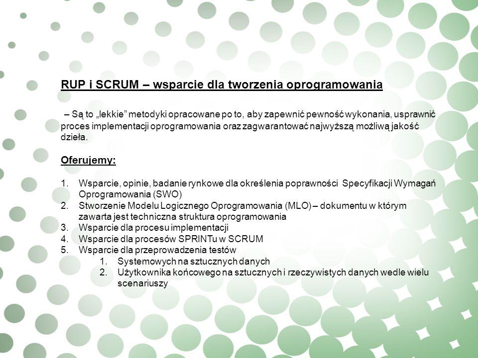 RUP i SCRUM – wsparcie dla tworzenia oprogramowania – Są to lekkie metodyki opracowane po to, aby zapewnić pewność wykonania, usprawnić proces impleme