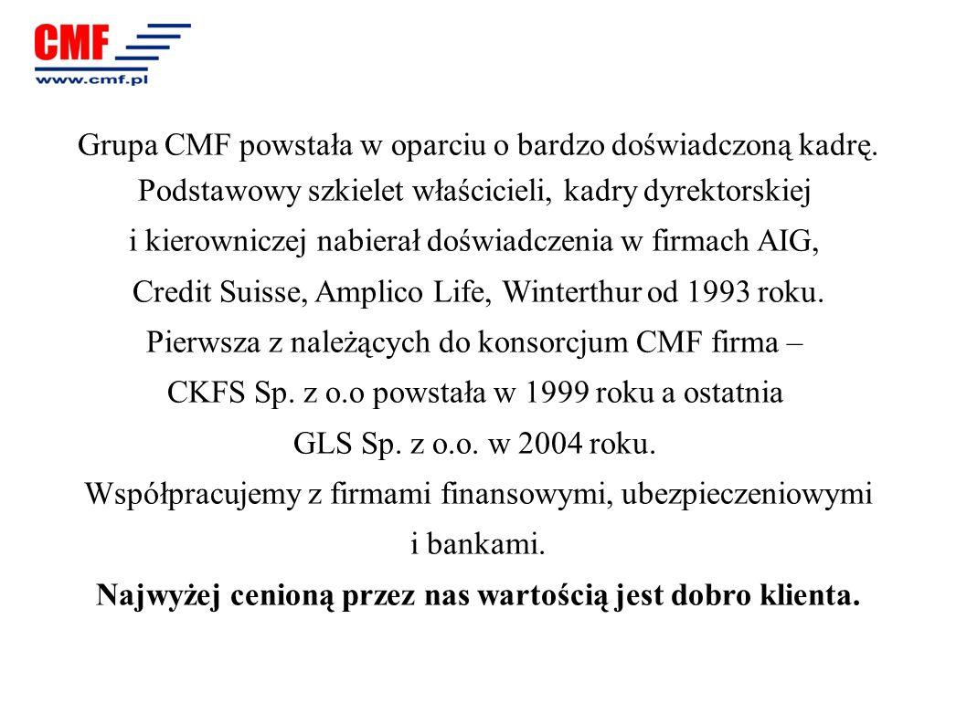 Grupa CMF powstała w oparciu o bardzo doświadczoną kadrę. Podstawowy szkielet właścicieli, kadry dyrektorskiej i kierowniczej nabierał doświadczenia w
