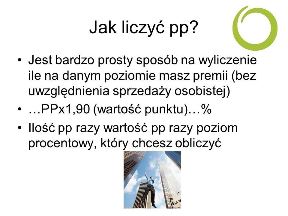 Jak liczyć pp? Jest bardzo prosty sposób na wyliczenie ile na danym poziomie masz premii (bez uwzględnienia sprzedaży osobistej) …PPx1,90 (wartość pun