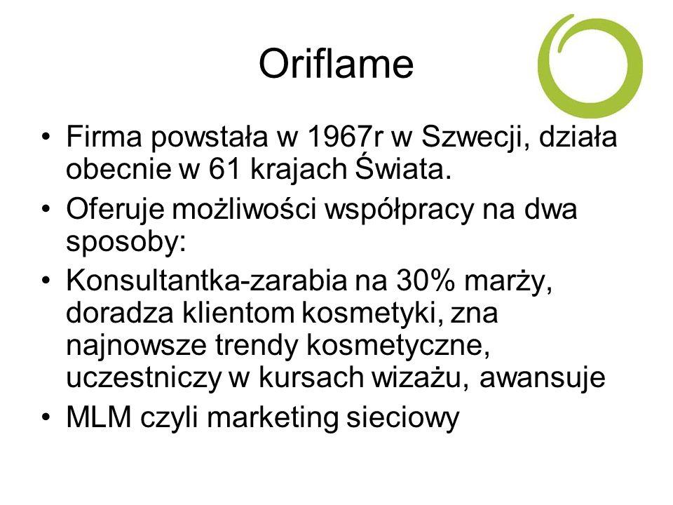 Oriflame Firma powstała w 1967r w Szwecji, działa obecnie w 61 krajach Świata. Oferuje możliwości współpracy na dwa sposoby: Konsultantka-zarabia na 3