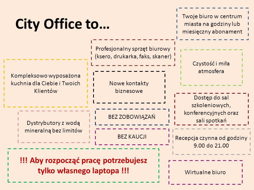 City Office to… Twoje biuro w centrum miasta na godziny lub miesięczny abonament Profesjonalny sprzęt biurowy (ksero, drukarka, faks, skaner) Czystość i miła atmosfera Kompleksowo wyposażona kuchnia dla Ciebie i Twoich Klientów Nowe kontakty biznesowe Dostęp do sal szkoleniowych, konferencyjnych oraz sali spotkań Recepcja czynna od godziny 9.00 do 21.00 !!.