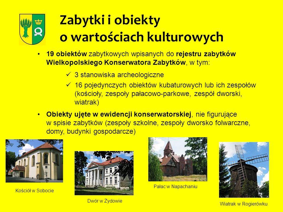Zabytki i obiekty o wartościach kulturowych 19 obiektów zabytkowych wpisanych do rejestru zabytków Wielkopolskiego Konserwatora Zabytków, w tym: 3 sta