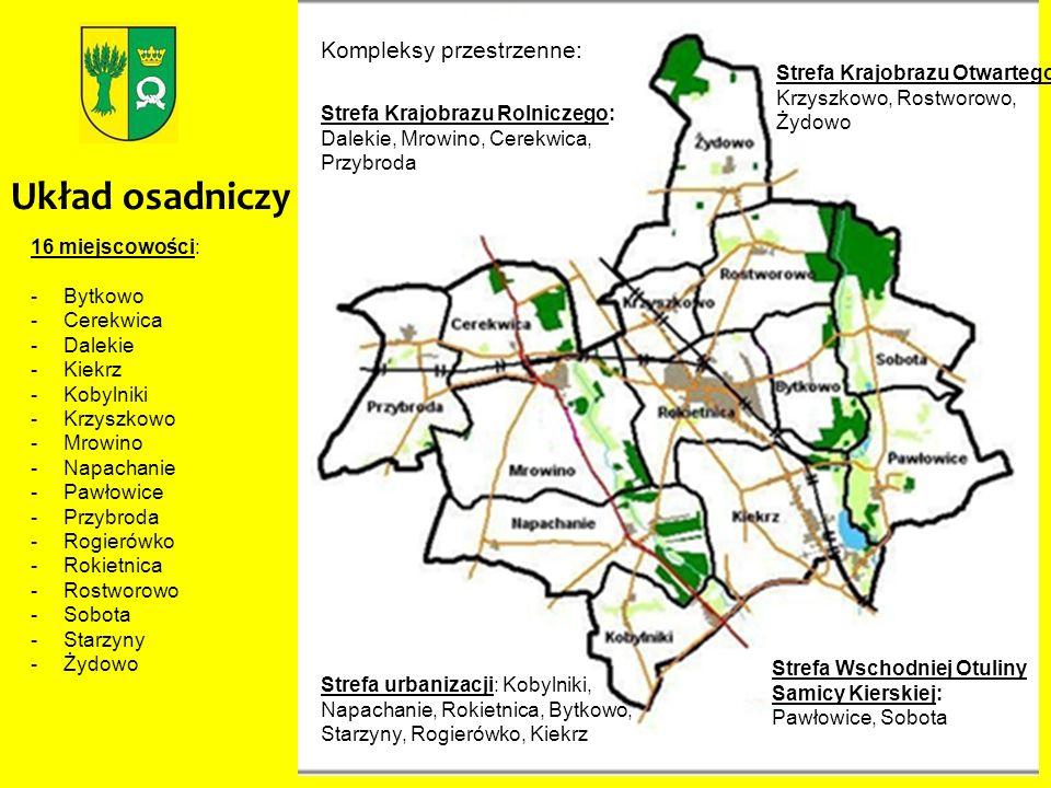 Układ osadniczy 16 miejscowości: -Bytkowo -Cerekwica -Dalekie -Kiekrz -Kobylniki -Krzyszkowo -Mrowino -Napachanie -Pawłowice -Przybroda -Rogierówko -R