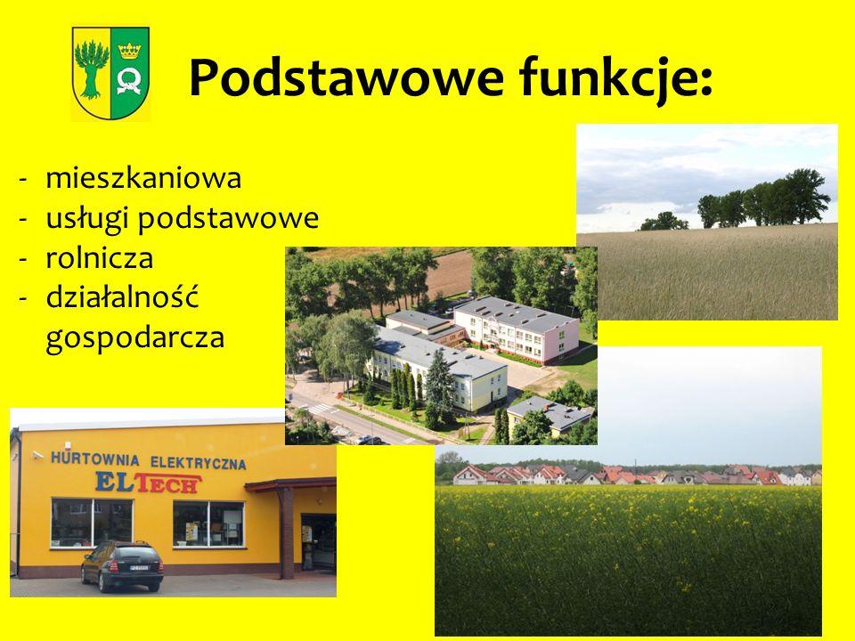 Podstawowe funkcje: -mieszkaniowa -usługi podstawowe -rolnicza -działalność gospodarcza
