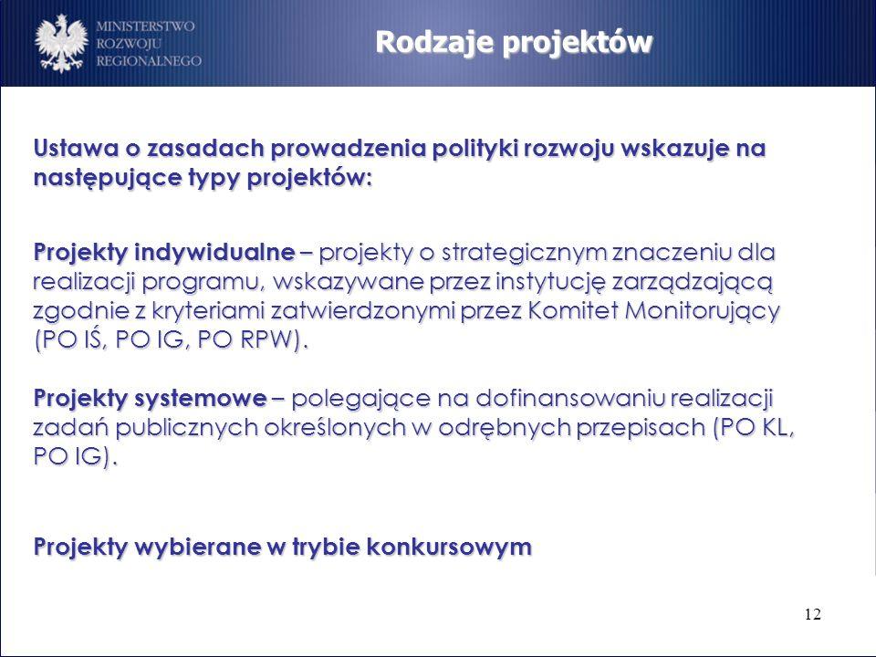 12 Ustawa o zasadach prowadzenia polityki rozwoju wskazuje na następujące typy projektów: Rodzaje projektów Projekty indywidualne – projekty o strateg