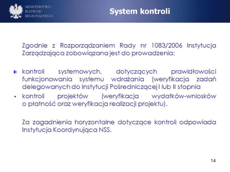 14 Zgodnie z Rozporządzaniem Rady nr 1083/2006 Instytucja Zarządzająca zobowiązana jest do prowadzenia: kontroli systemowych, dotyczących prawidłowośc
