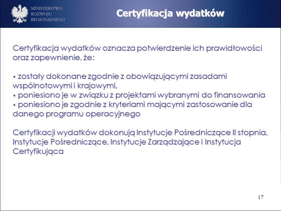 17 Certyfikacja wydatków Certyfikacja wydatków oznacza potwierdzenie ich prawidłowości oraz zapewnienie, że: zostały dokonane zgodnie z obowiązującymi