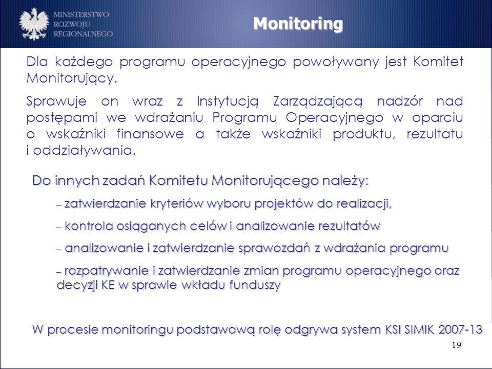 19 Dla każdego programu operacyjnego powoływany jest Komitet Monitorujący. Sprawuje on wraz z Instytucją Zarządzającą nadzór nad postępami we wdrażani
