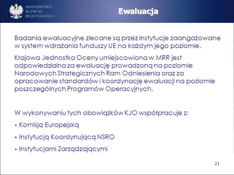 21 Ewaluacja Badania ewaluacyjne zlecane są przez instytucje zaangażowane w system wdrażania funduszy UE na każdym jego poziomie. Krajowa Jednostka Oc