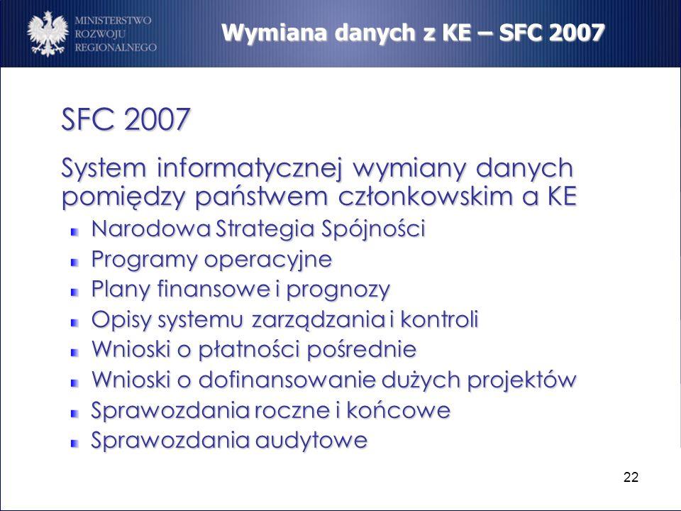22 Wymiana danych z KE – SFC 2007 SFC 2007 System informatycznej wymiany danych pomiędzy państwem członkowskim a KE Narodowa Strategia Spójności Progr