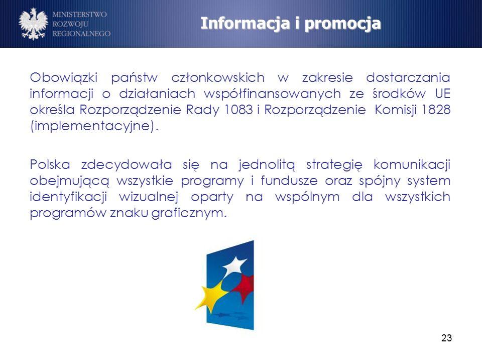 23 Obowiązki państw członkowskich w zakresie dostarczania informacji o działaniach współfinansowanych ze środków UE określa Rozporządzenie Rady 1083 i