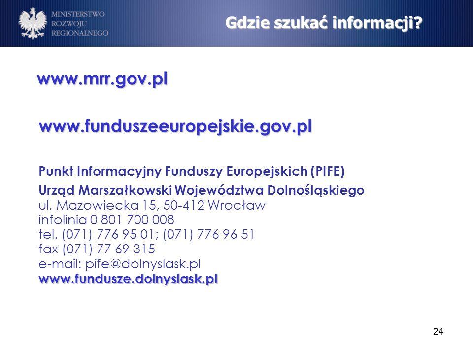 24 Gdzie szukać informacji? www.mrr.gov.pl www.funduszeeuropejskie.gov.pl Punkt Informacyjny Funduszy Europejskich (PIFE) www.fundusze.dolnyslask.pl U