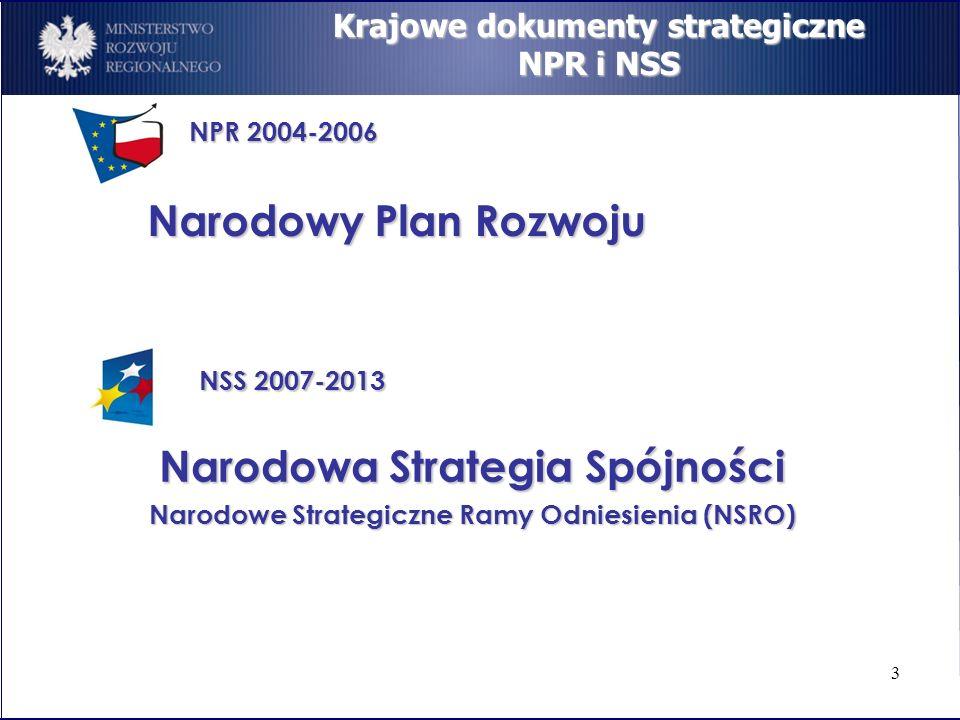 3 Krajowe dokumenty strategiczne NPR i NSS NPR 2004-2006 NSS 2007-2013 Narodowy Plan Rozwoju Narodowa Strategia Spójności Narodowe Strategiczne Ramy O