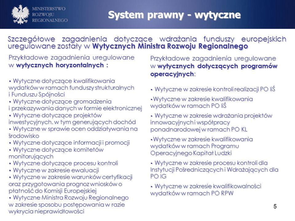 5 Szczegółowe zagadnienia dotyczące wdrażania funduszy europejskich uregulowane zostały w Wytycznych Ministra Rozwoju Regionalnego System prawny - wyt