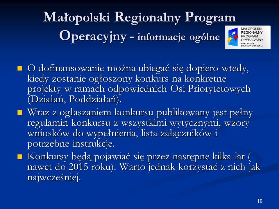 10 M ałopolski R egionalny P rogram O peracyjny - informacje ogólne O dofinansowanie można ubiegać się dopiero wtedy, kiedy zostanie ogłoszony konkurs