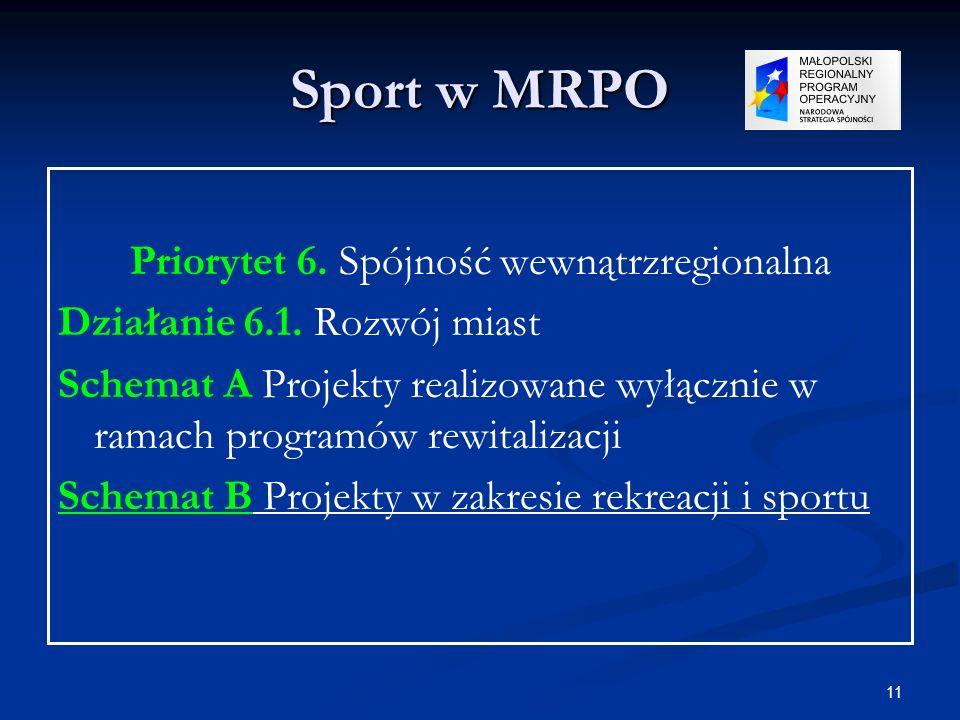 11 Sport w MRPO Priorytet 6. Spójność wewnątrzregionalna Działanie 6.1. Rozwój miast Schemat A Projekty realizowane wyłącznie w ramach programów rewit
