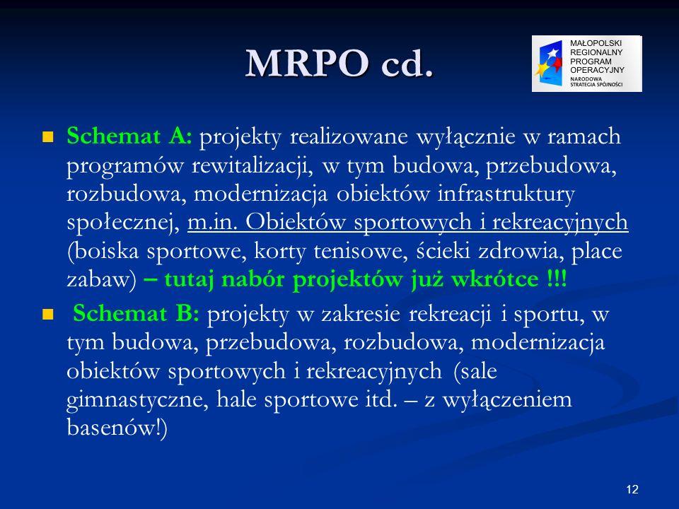 12 MRPO cd. Schemat A: projekty realizowane wyłącznie w ramach programów rewitalizacji, w tym budowa, przebudowa, rozbudowa, modernizacja obiektów inf