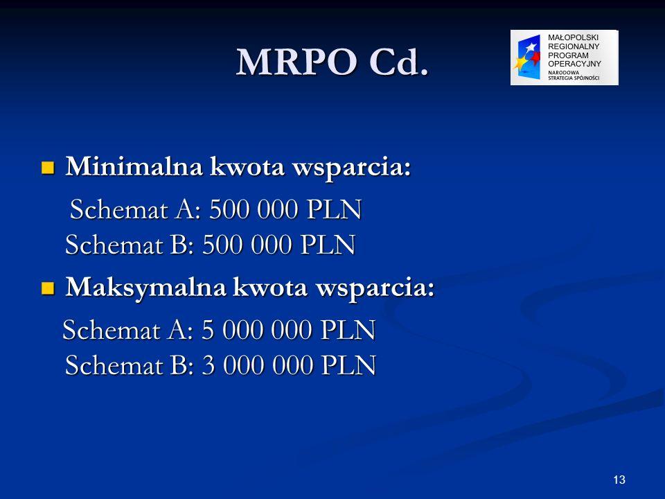 13 MRPO Cd. Minimalna kwota wsparcia: Minimalna kwota wsparcia: Schemat A: 500 000 PLN Schemat B: 500 000 PLN Schemat A: 500 000 PLN Schemat B: 500 00