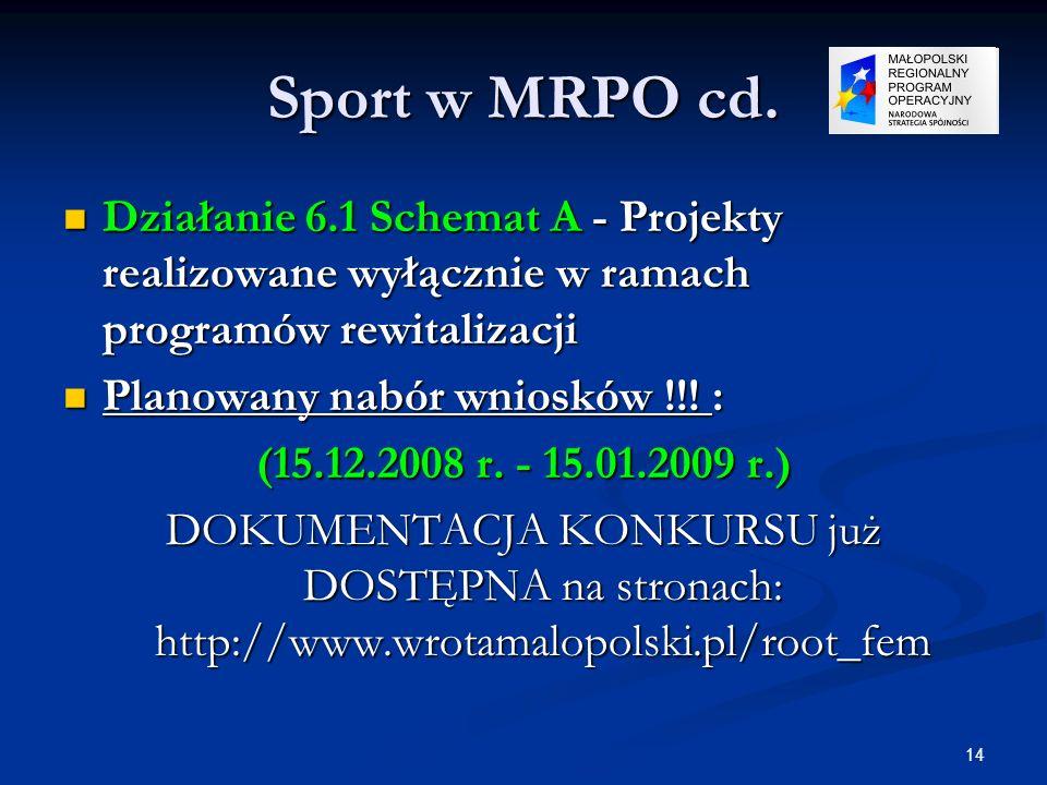 14 Sport w MRPO cd. Działanie 6.1 Schemat A - Projekty realizowane wyłącznie w ramach programów rewitalizacji Działanie 6.1 Schemat A - Projekty reali