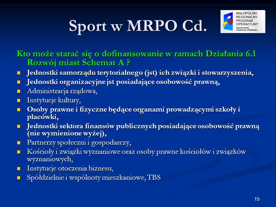 15 Sport w MRPO Cd. Kto może starać się o dofinansowanie w ramach Działania 6.1 Rozwój miast Schemat A ? Jednostki samorządu terytorialnego (jst) ich