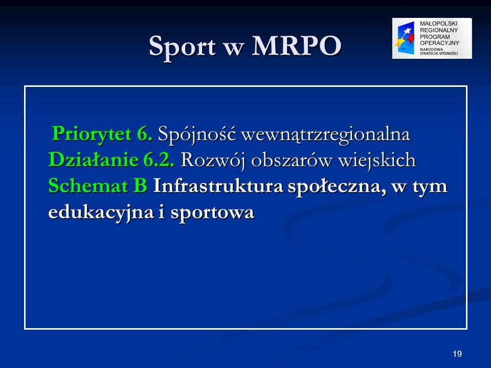 19 Sport w MRPO Priorytet 6. Spójność wewnątrzregionalna Działanie 6.2. Rozwój obszarów wiejskich Schemat B Infrastruktura społeczna, w tym edukacyjna
