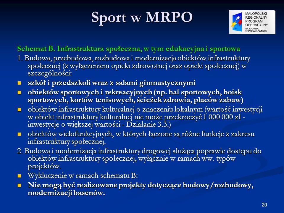 20 Sport w MRPO Schemat B. Infrastruktura społeczna, w tym edukacyjna i sportowa 1. Budowa, przebudowa, rozbudowa i modernizacja obiektów infrastruktu