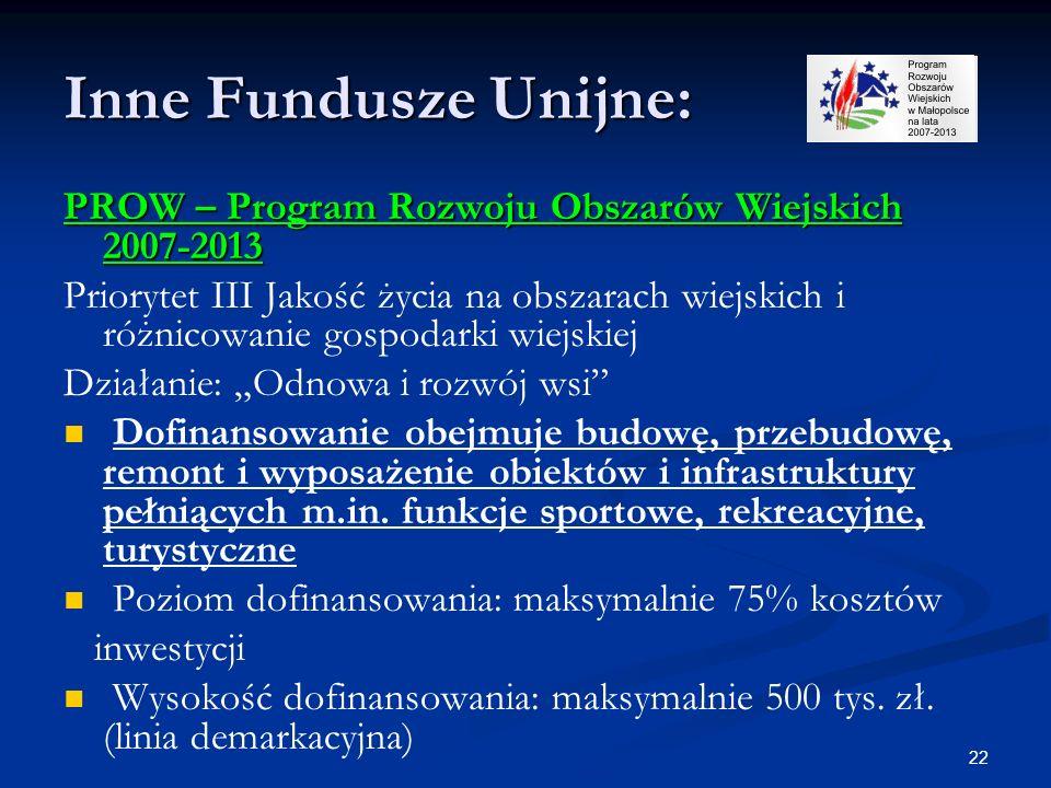 22 Inne Fundusze Unijne: PROW – Program Rozwoju Obszarów Wiejskich 2007-2013 Priorytet III Jakość życia na obszarach wiejskich i różnicowanie gospodar