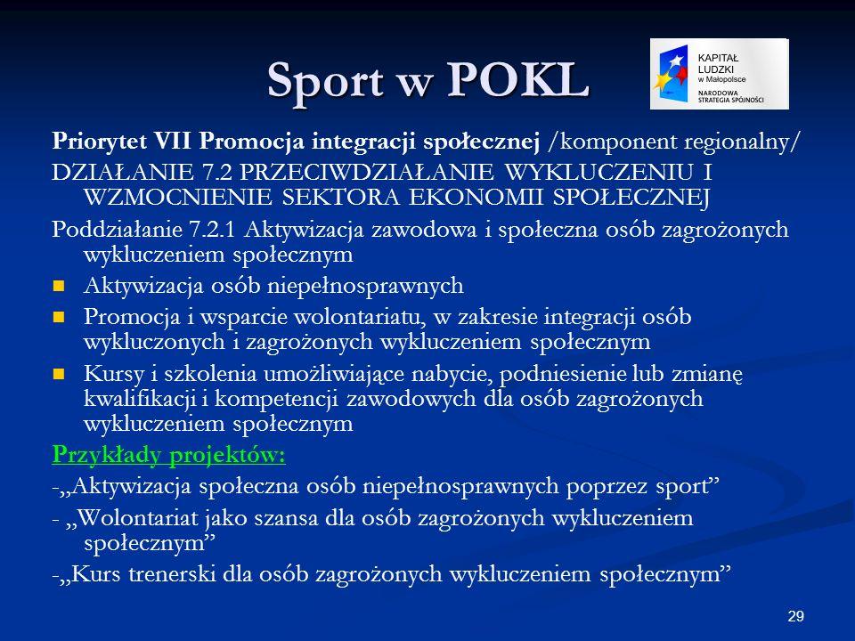 29 Sport w POKL Priorytet VII Promocja integracji społecznej /komponent regionalny/ DZIAŁANIE 7.2 PRZECIWDZIAŁANIE WYKLUCZENIU I WZMOCNIENIE SEKTORA E