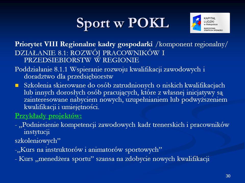30 Sport w POKL Priorytet VIII Regionalne kadry gospodarki /komponent regionalny/ DZIAŁANIE 8.1: ROZWÓJ PRACOWNIKÓW I PRZEDSIEBIORSTW W REGIONIE Poddz