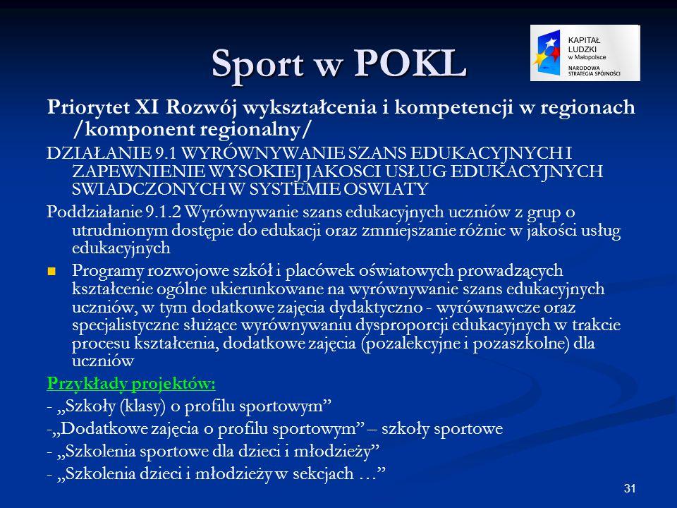 31 Sport w POKL Priorytet XI Rozwój wykształcenia i kompetencji w regionach /komponent regionalny/ DZIAŁANIE 9.1 WYRÓWNYWANIE SZANS EDUKACYJNYCH I ZAP
