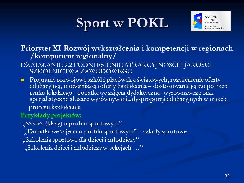 32 Sport w POKL Priorytet XI Rozwój wykształcenia i kompetencji w regionach /komponent regionalny/ DZAIAŁANIE 9.2 PODNIESIENIE ATRAKCYJNOSCI I JAKOSCI