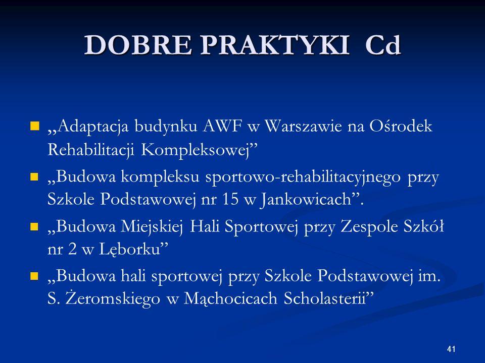 41 DOBRE PRAKTYKI Cd Adaptacja budynku AWF w Warszawie na Ośrodek Rehabilitacji Kompleksowej Budowa kompleksu sportowo-rehabilitacyjnego przy Szkole P