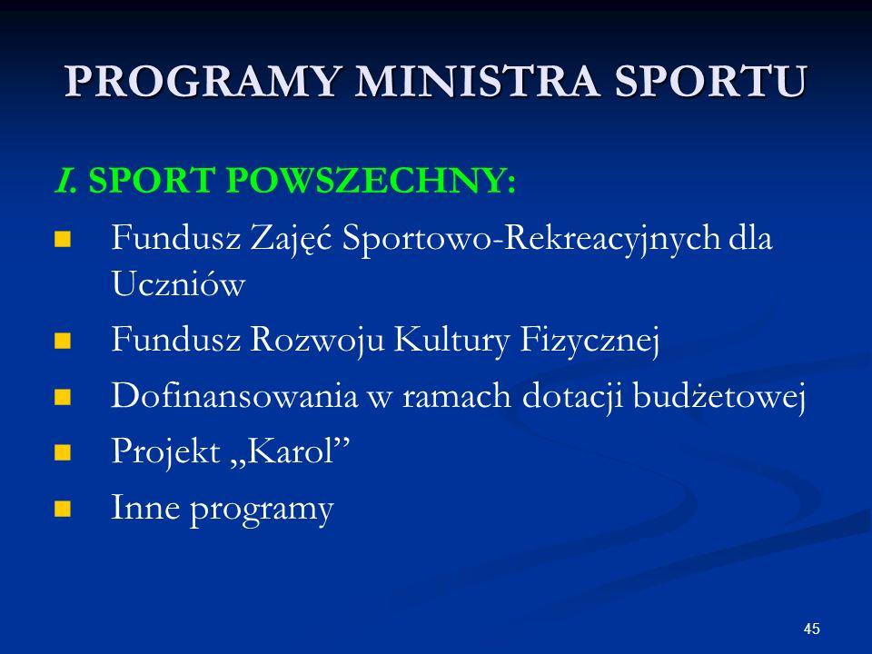 45 PROGRAMY MINISTRA SPORTU I. SPORT POWSZECHNY: Fundusz Zajęć Sportowo-Rekreacyjnych dla Uczniów Fundusz Rozwoju Kultury Fizycznej Dofinansowania w r