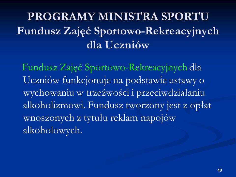 48 PROGRAMY MINISTRA SPORTU PROGRAMY MINISTRA SPORTU Fundusz Zajęć Sportowo-Rekreacyjnych dla Uczniów Fundusz Zajęć Sportowo-Rekreacyjnych dla Uczniów