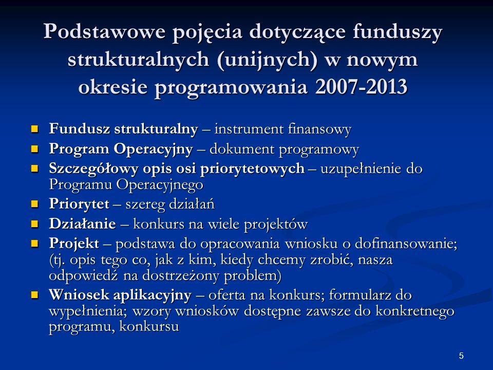 5 Podstawowe pojęcia dotyczące funduszy strukturalnych (unijnych) w nowym okresie programowania 2007-2013 Fundusz strukturalny – instrument finansowy