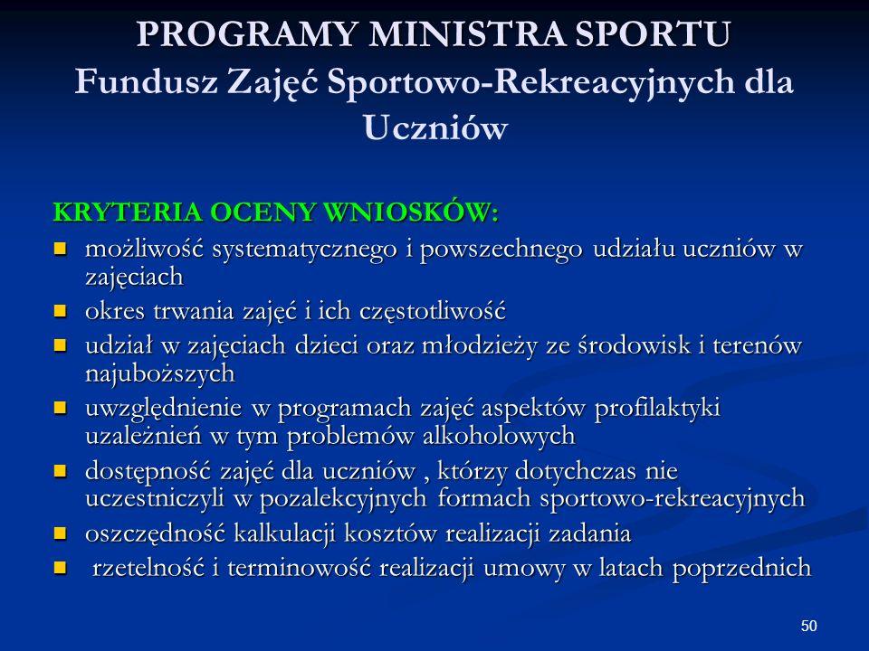 50 PROGRAMY MINISTRA SPORTU PROGRAMY MINISTRA SPORTU Fundusz Zajęć Sportowo-Rekreacyjnych dla Uczniów KRYTERIA OCENY WNIOSKÓW: możliwość systematyczne