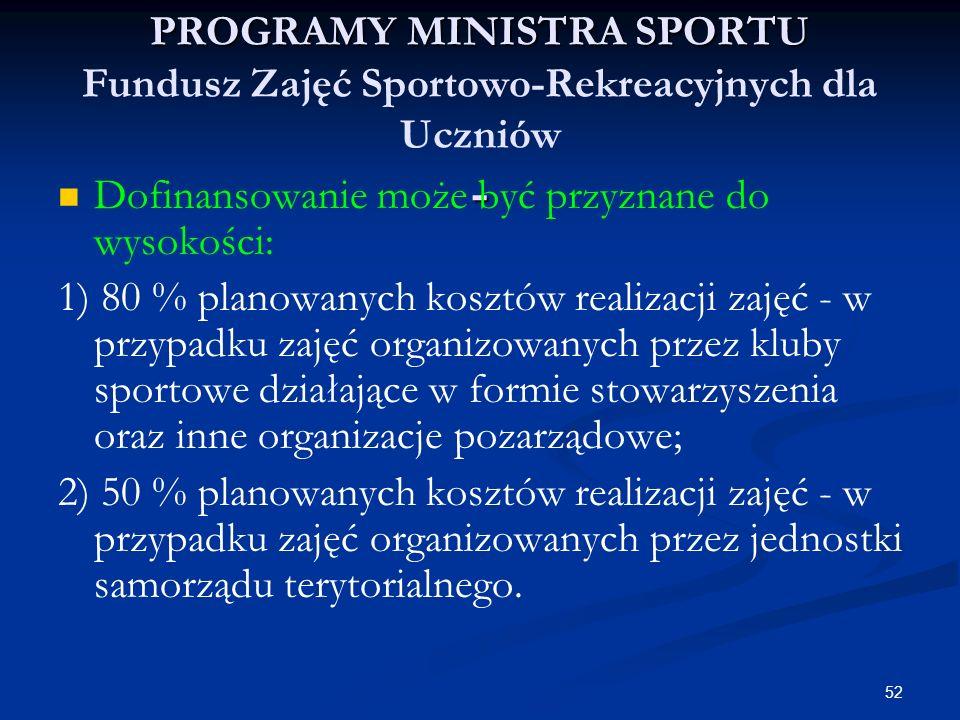 52 PROGRAMY MINISTRA SPORTU - PROGRAMY MINISTRA SPORTU Fundusz Zajęć Sportowo-Rekreacyjnych dla Uczniów - Dofinansowanie może być przyznane do wysokoś