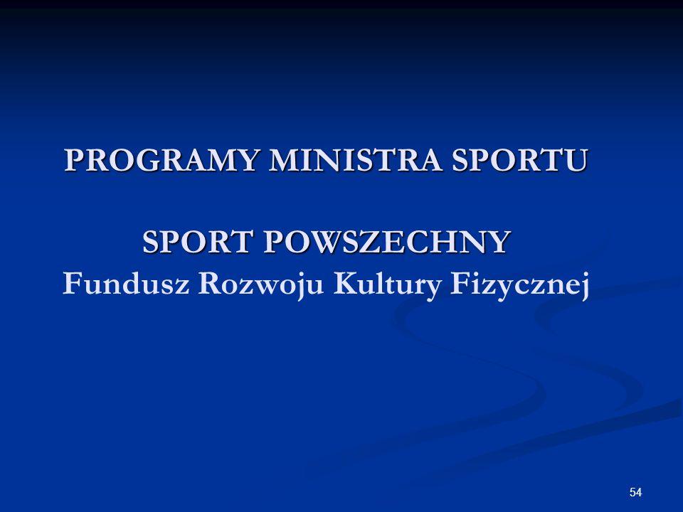 54 PROGRAMY MINISTRA SPORTU SPORT POWSZECHNY PROGRAMY MINISTRA SPORTU SPORT POWSZECHNY Fundusz Rozwoju Kultury Fizycznej