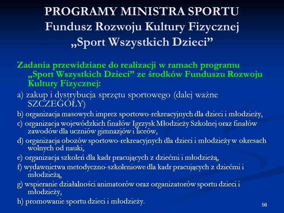 56 PROGRAMY MINISTRA SPORTU PROGRAMY MINISTRA SPORTU Fundusz Rozwoju Kultury Fizycznej Sport Wszystkich Dzieci Zadania przewidziane do realizacji w ra