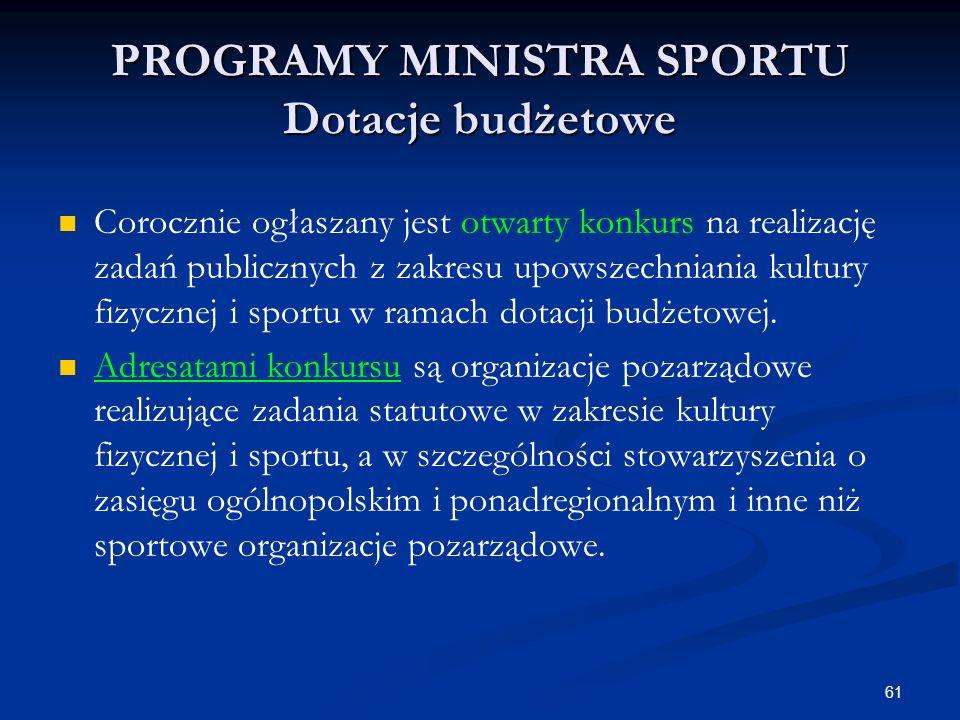 61 PROGRAMY MINISTRA SPORTU Dotacje budżetowe Corocznie ogłaszany jest otwarty konkurs na realizację zadań publicznych z zakresu upowszechniania kultu