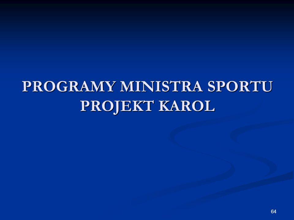 64 PROGRAMY MINISTRA SPORTU PROJEKT KAROL
