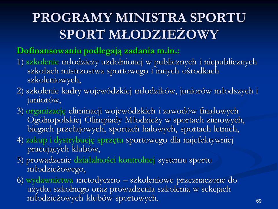 69 PROGRAMY MINISTRA SPORTU SPORT MŁODZIEŻOWY Dofinansowaniu podlegają zadania m.in.: 1) szkolenie młodzieży uzdolnionej w publicznych i niepublicznyc