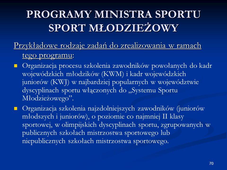 70 PROGRAMY MINISTRA SPORTU SPORT MŁODZIEŻOWY Przykładowe rodzaje zadań do zrealizowania w ramach tego programu: Organizacja procesu szkolenia zawodni