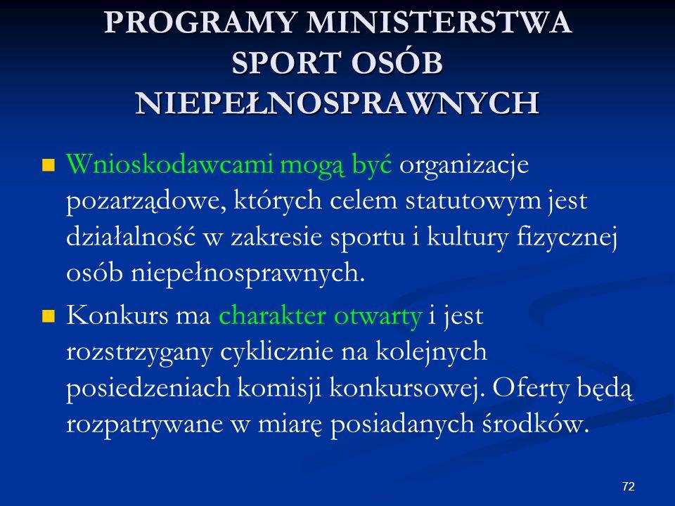 72 PROGRAMY MINISTERSTWA SPORT OSÓB NIEPEŁNOSPRAWNYCH Wnioskodawcami mogą być organizacje pozarządowe, których celem statutowym jest działalność w zak