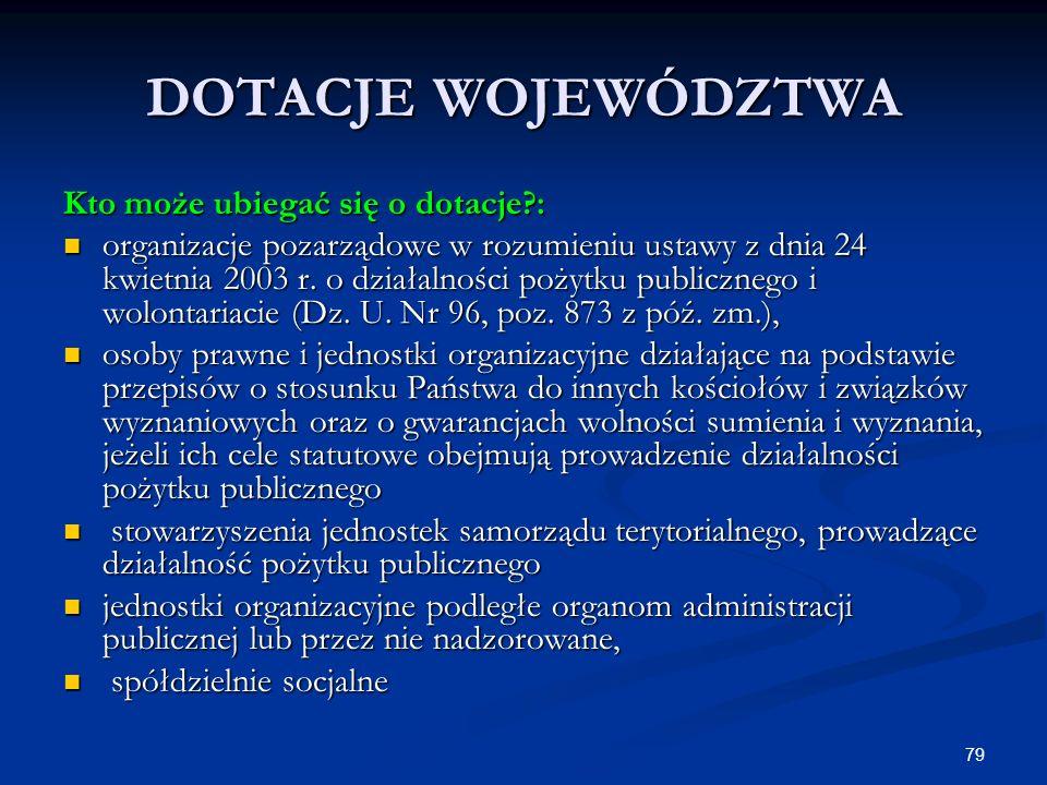 79 DOTACJE WOJEWÓDZTWA Kto może ubiegać się o dotacje?: organizacje pozarządowe w rozumieniu ustawy z dnia 24 kwietnia 2003 r. o działalności pożytku