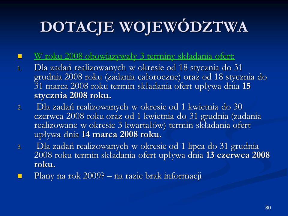 80 DOTACJE WOJEWÓDZTWA W roku 2008 obowiązywały 3 terminy składania ofert: W roku 2008 obowiązywały 3 terminy składania ofert: 1. Dla zadań realizowan