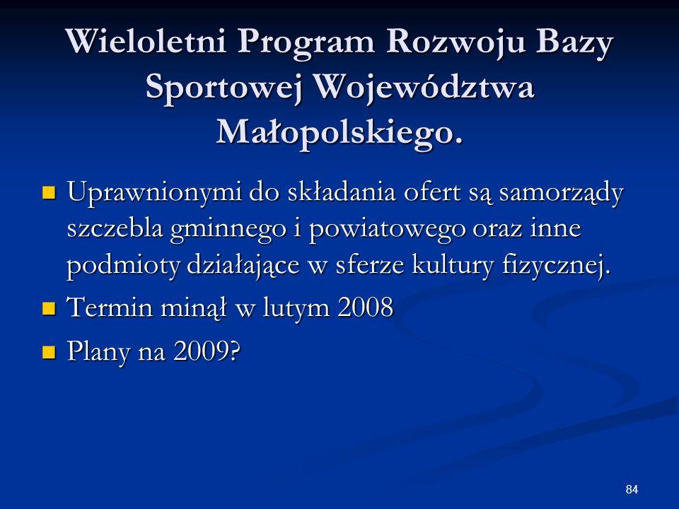 84 Wieloletni Program Rozwoju Bazy Sportowej Województwa Małopolskiego. Uprawnionymi do składania ofert są samorządy szczebla gminnego i powiatowego o