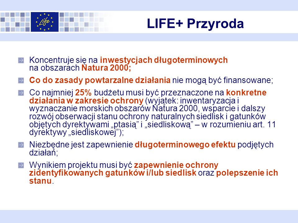 Siedliska i gatunki inne niż ptaki http://ec.europa.eu/environment/natur e/legislation/habitatsdirective/docs/2 007_07_im.pdf gatunki ptaków http://ec.europa.eu/environment/natur e/conservation/wildbirds/action_plans /index_en.htm Priorytetowe ?!