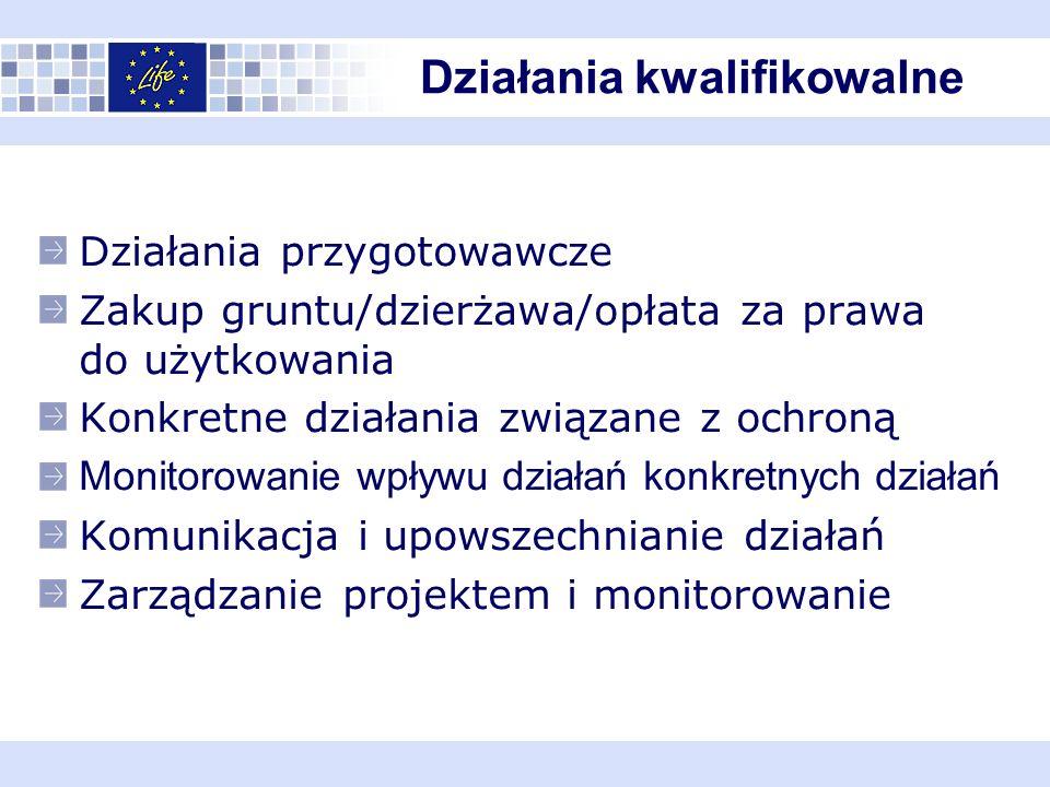Działania przygotowawcze Zakup gruntu/dzierżawa/opłata za prawa do użytkowania Konkretne działania związane z ochroną Monitorowanie wpływu działań konkretnych działań Komunikacja i upowszechnianie działań Zarządzanie projektem i monitorowanie Działania kwalifikowalne
